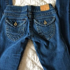 true Religion skinny jeans with flap back pockets